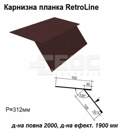 Карнизная планка Retroline RAL 032 PEMA 0,45 мм