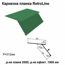 Карнизная планка Retroline RAL 6005 PEMA 0,5 мм