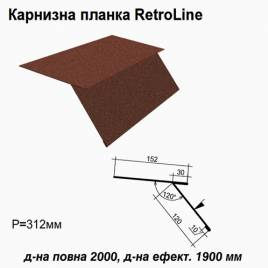 Карнизная планка Retroline RAL 8017 PEMA 0,5 мм