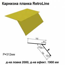 Карнизная планка Retroline RAL 1021 PE 0,45 мм