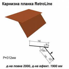 Карнизна планка Retroline RAL 8004 PE 0,5 мм