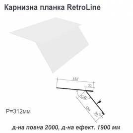 Карнизна планка Retroline RAL 9003 PE 0,5 мм