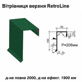 Ветровая планка верхняя Retroline RAL 6005 PEMA 0,45 мм