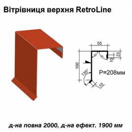 Ветровая планка верхняя Retroline RAL 3016 PE 0,5 мм