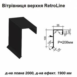 Ветровая планка верхняя Retroline RAL 9005 PE 0,5 мм