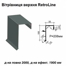 Ветровая планка верхняя Retroline RAL 023 PURMAT 0,5 мм